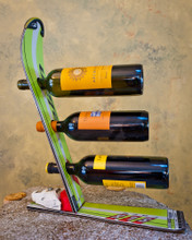 ski wine rack, recycled ski wine rack