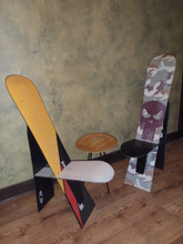 Only three snowboards used.