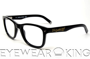 New Authentic Shiny Black Eyeglasses Frame DSquared2 DQ 5005 001 Angle-1 | Eyewearking.com