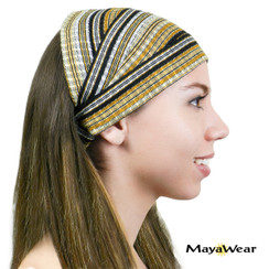 "BAND139 - ""Sahara"" Bandana.- Black, Gold, White. 100% Cotton. Made in Guatemala."