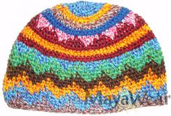 KUF02 - Rainbow Zigzag Beanie/Kufi. 100% Cotton. Made in Guatemala. Pattern may vary. https://www.mayawear.com