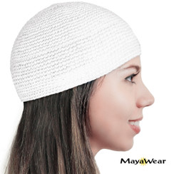 #KUF43 - Pure White Beanie Kufi. 100% Cotton. Made in Guatemala. https://www.mayawear.com