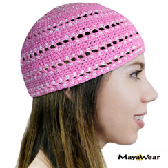 KUF57  - Pink & White -  Beanie Kufi. 100% Cotton. Made in Guatemala. https://www.mayawear.com