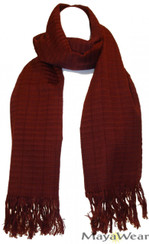 "SSRF101 - ""Chocolate"" Scarf w/Fringe. 100% Cotton. Made in Guatemala. https://www.mayawear.com"