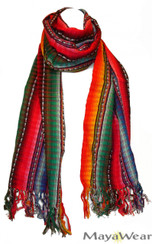 "SSRF110 - ""Tequila Sunrise"" Scarf w/Fringe. 100% Cotton. Made in Guatemala. https://www.mayawear.com"
