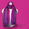 "SSRF113 - ""Electra"" Scarf w/Fringe - Magenta Center with Multi-Colors. 100% Cotton. Made in Guatemala."