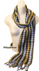 "SSRF124 ""Hero"" Scarf Fringe. 100% Cotton. Made in Guatemala. https://www.mayawear.com"