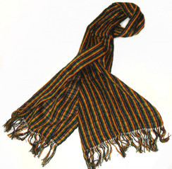 "SSRF140 - ""Mr. Mustard"" Scarf w/Fringe. 100% Cotton Hand Woven. Made in Guatemala. https://www.mayawear.com"
