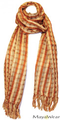 SSRF142 - Harvest Fall Scarf w/Fringe. Hand Woven 100% Cotton. Made in Guatemala. https://www.mayawear.com