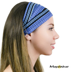 "BAND139B - ""Blue Sahara"" Bandana.- Black & Blue. 100% Cotton. Made in Guatemala."