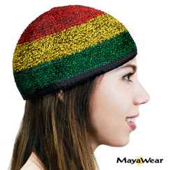 KUF71  - Rasta 3 -  Beanie Kufi. 100% Cotton. Made in Guatemala. https://www.mayawear.com
