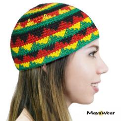 KUF85MZ - Rasta 5 Zigzags. Beanie Kufi. 100% Cotton. Made in Guatemala. https://www.mayawear.com