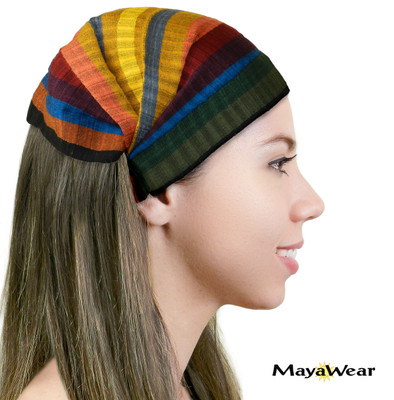 "BAND118 - ""Muted Rainbow"" Bandanna. 100% Cotton. Made in Guatemala. https://www.mayawear.com"