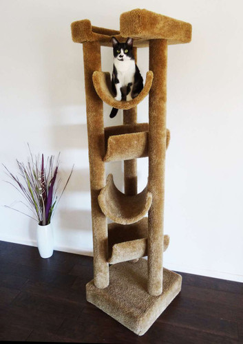 Premier Solid Wood 6-foot Skyscraper Cat Tree-Brown