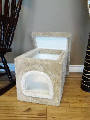 New Cat Condos Premier  Small Litter Box Enclosure-Beige