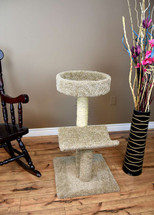 New Cat Condos Solid Wood Cat Scratching Post and Bed