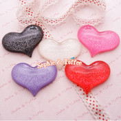 50mm Huge Glitter Heart Shaped Resin Cabochon - 5 pieces