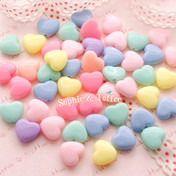 Pastel Heart Beads in Candy Color (13mm)