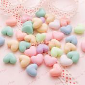 Chunky Pastel Heart Beads (13mm x 11mm)