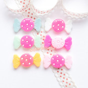 Pastel Dotted Candy Sweets Resin Cabochon - 12 pieces