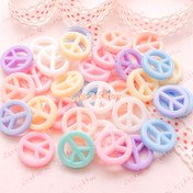 Pastel Color Peace Sign Straight Hole Beads