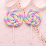 Big Polymer Clay Rainbow Lollipop Cabochon (Pastel Color) *Set of 3 pieces*