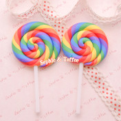 Big Polymer Clay Rainbow Lollipop Cabochon (Vibrant Color) *Set of 2 pieces*