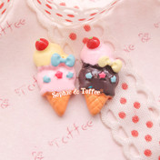 Kawaii Ice Cream Cabochon with Stars *Set of 8 pieces*