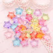 Acrylic Translucent Star Beads (15mm) - 50 grams