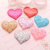 Glittery Confetti Flatback Heart Cabochon - 7 pieces