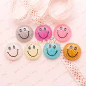 Glittery Smiley Face Flat Back Resin Cabochon *Set of 7 pieces*