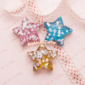 Super Glittery Confetti Puffy Star Flatback Resin Cabochon *Set of 3 pieces*
