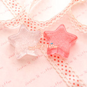 Big Chunky Glitter Stars Resin Cabochon - 4 pieces