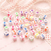 Numbers Cube Beads (6mm) - 108 pieces approx.