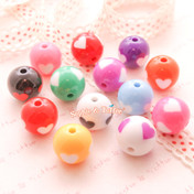 Chunky Cute Heart Colourful Beads  - 10 pieces