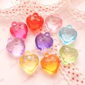Transparent Faceted Heart Charms Beads (15x17mm) - 54 pieces approx.