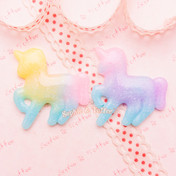 Glittery Rainbow Gradient Unicorn Cabochon -  6 pieces