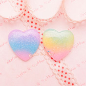 Glittery Rainbow Gradient Heart Cabochon - 6 pieces