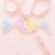 Glittery Rainbow Gradient Ribbon Cabochon - 6 pieces