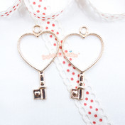Heart Key Open Bezel Gold Charm - 3 pieces