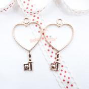 Heart Key Open Bezel Gold Charm - 3 pieces