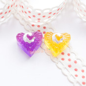 Heart Shaped Jelly Miniature Resin Cabochon - 10 pieces