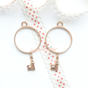 Circle Key Open Bezel Gold Charm - 3 pieces