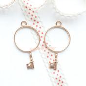 Circle Key Open Bezel Gold Charm - 3 pieces