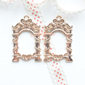 Mirror Frame Open Bezel Gold Charm - 2 pieces