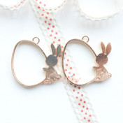 Bunny Egg Open Bezel Gold Charm - 2 pieces