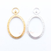 Oval Pocket Watch Open Bezel Charm - 4 pieces