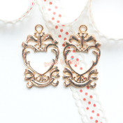Royal Heart Frame Open Bezel Gold Charm - 3 pieces