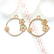 Sakura Circle Ring Bezel Yellow Gold Charm - 3 pieces