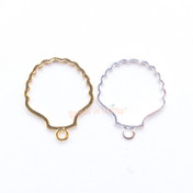 Seashell Open Bezel Gold Charm - 4 pieces